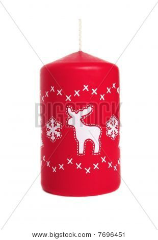 Red Candle With Deer