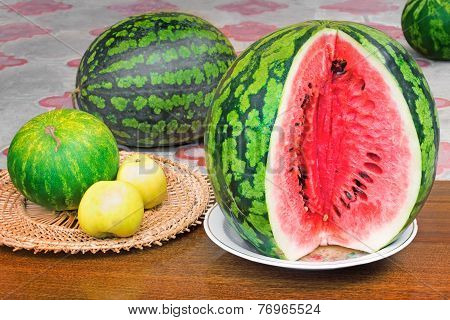 Ripe Sliced Watermelon And Apples.