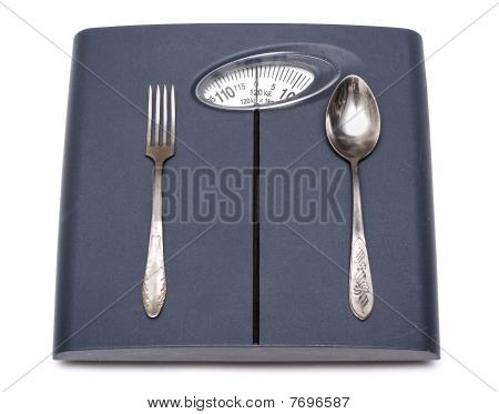 Bathroom Scales, Fork And Spoon