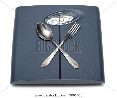 Bathroom Scales, Fork And Spoon Isolated