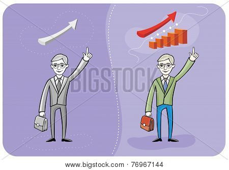 Businessman with case and graph