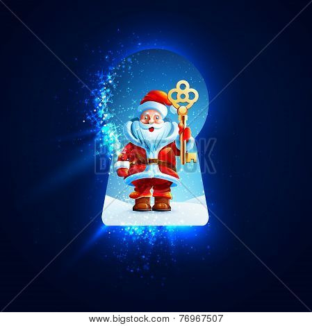 Santa Claus with a golden key in the keyhole