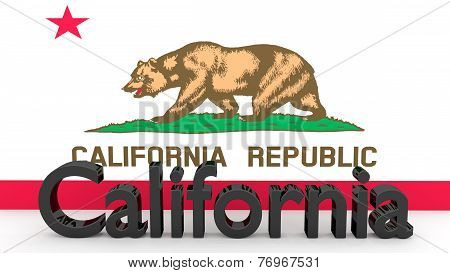 Us State California, Metal Name In Front Of Flag