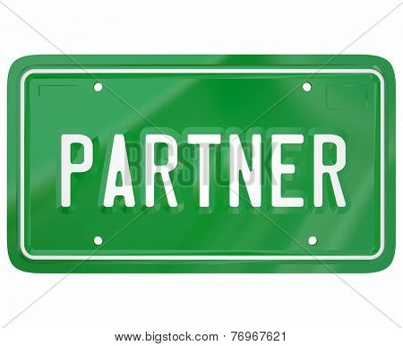 Partner word on a green automotive license plate to show someone who has joined a group, firm, cooperative, company, association or organization