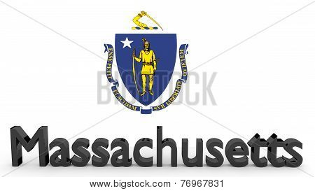 Us State Massachusetts, Metal Name In Front Of Flag