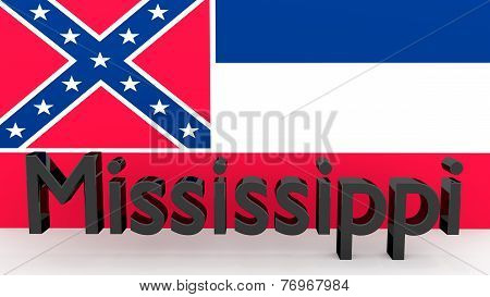 Us State Mississippi, Metal Name In Front Of Flag