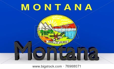 Us State Montana, Metal Name In Front Of Flag