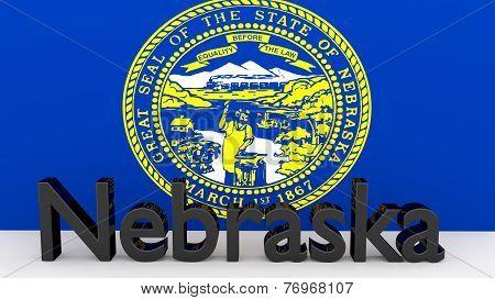 Us State Nebraska, Metal Name In Front Of Flag
