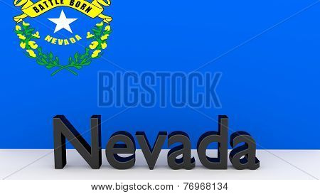 Us State Nevada, Metal Name In Front Of Flag