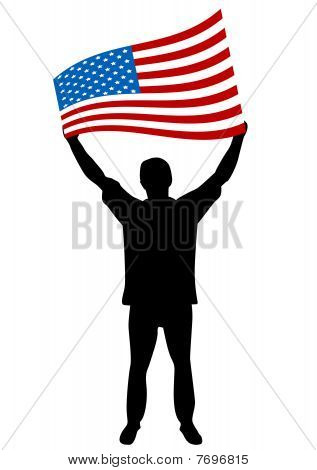 Illustration of a man streaming the USA flag