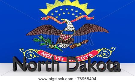 Us State North Dakota, Metal Name In Front Of Flag