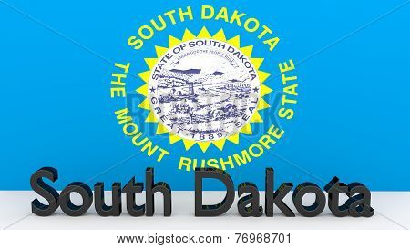 Us State South Dakota, Metal Name In Front Of Flag