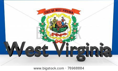 Us State West Virginia, Metal Name In Front Of Flag