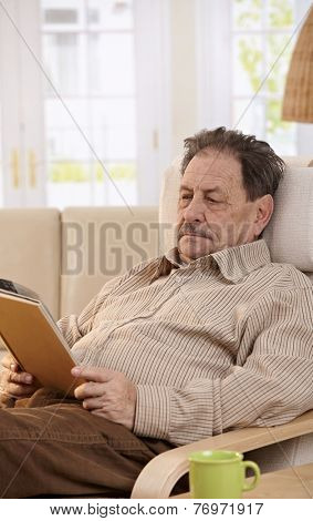 Senior man resting in chair at home, reading book.