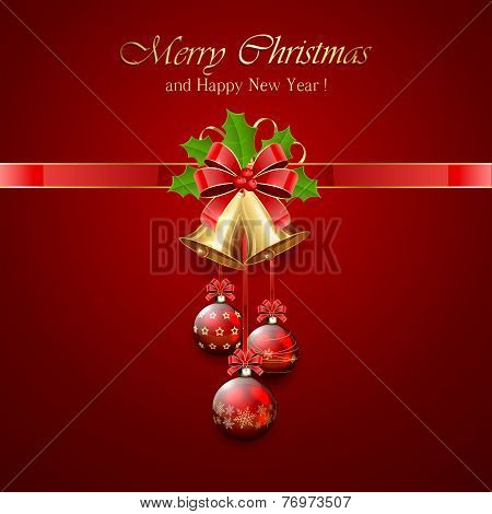 Christmas Bell And Holly Berries On Red Background