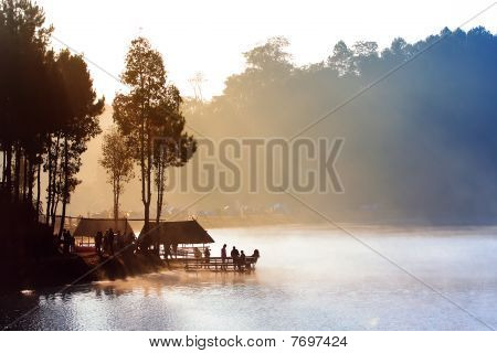 Morning In Pang-ung Lake,north Of Thailand
