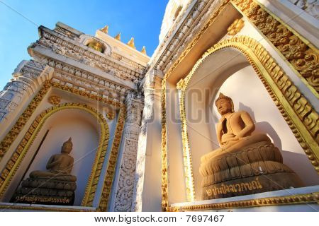 Buddha Images On Wall Of India's Style Stupa