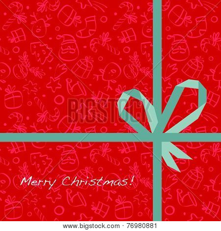Vector merry christmas greeting card, wrapping paper pattern with gift bow, ribbon.