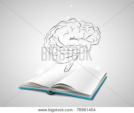 human brain sketch over an open book