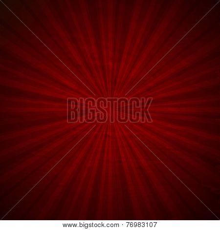 Vintage Red Sunburst Poster With Gradient Mesh, Vector Illustration