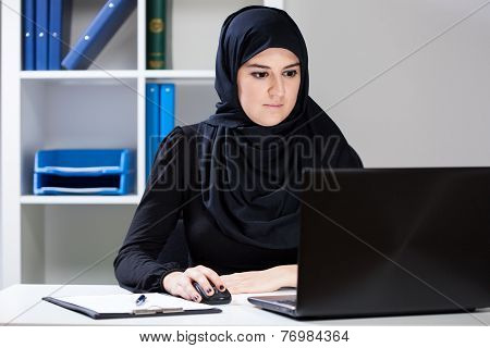 Female Muslim During Job