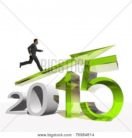 Conceptual 3D  human,man or businessman standing over an green 2015 year symbol with an arrow isolated on white background
