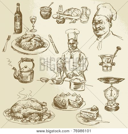 chef, cooking - hand drawn collection