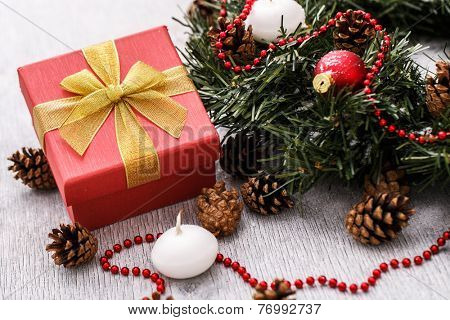 Pinecones with decorative Christmas balls and fir