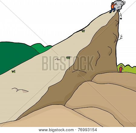 Person Pushing Boulder On Unaware Man