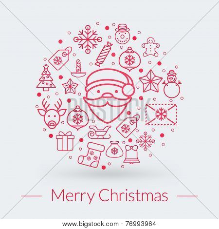 Christmas Greeting Card, Icons And Symbols, Christmas Tree, Snowflakes, Gift Box, Santa Elements Vec