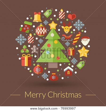Christmas Greeting Card, Icons And Symbols, Christmas Tree, Snowflakes, Gift Box, Santa Elements Vec