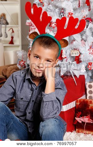 Cute Boy At Christmas