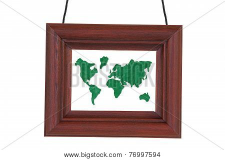 Wooden Frame And Earth Map