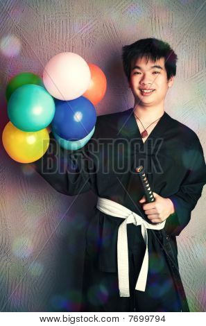 Happy Samurai With Balloons