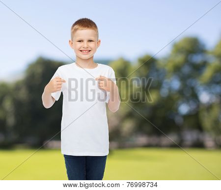 advertising, summer, people and childhood concept - smiling boy in white blank t-shirt pointing fingers at himself over park background