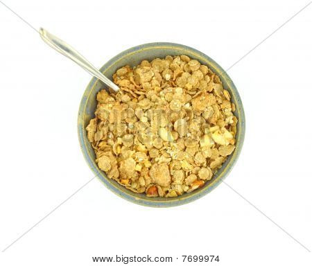 Banana and nut granola cereal with spoon