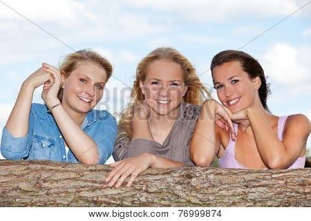 Three girls spending time outside
