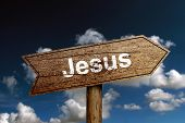 stock photo of jesus sign  - Jesus wooden road sign with cloud and blue sky background - JPG