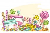 foto of candy cane border  - Sketchy Illustration Featuring Assorted Candies - JPG