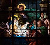 stock photo of nativity scene  - Stained glass window created by F - JPG