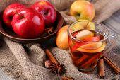 foto of cider apples  - Apple cider with cinnamon sticks - JPG