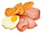 stock photo of hash  - Fried egg and bacon with hash browns isolated on a white background - JPG