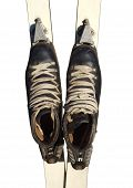 picture of ski boots  - Old ski boots in black with white laces isolated on white background - JPG