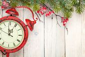stock photo of view from space needle  - Christmas wooden background with fir tree and antique alarm clock - JPG