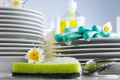 pic of detergent  - Washing glasses and plates with detergent and fresh flowers  - JPG