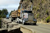 image of logging truck  - A load of logs being transported to the sawmill - JPG