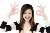 Beautiful Woman Showing Ok Sign