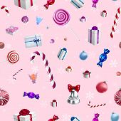 pic of lollipop  - Christmas background pattern with candy canes and lollipops in vector - JPG