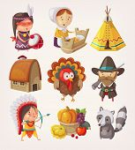 stock photo of indian apple  - Set of decorative thanksgiving items and characters - JPG
