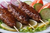 image of kebab  - delicious kebabs with lemon and vegetables on a white plate close - JPG
